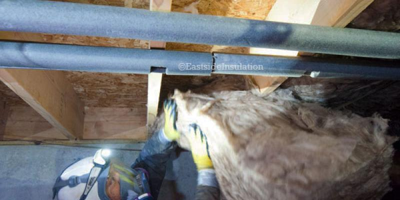 An Eastside team member cleaning out the crawl space insulation.
