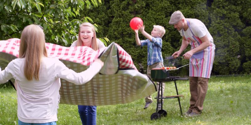 a family picnicking outside